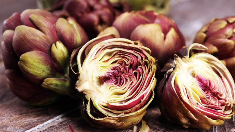 Artichokes with interior exposed
