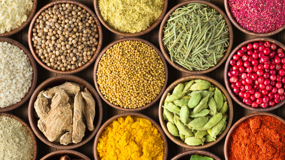 Spices in small bowls
