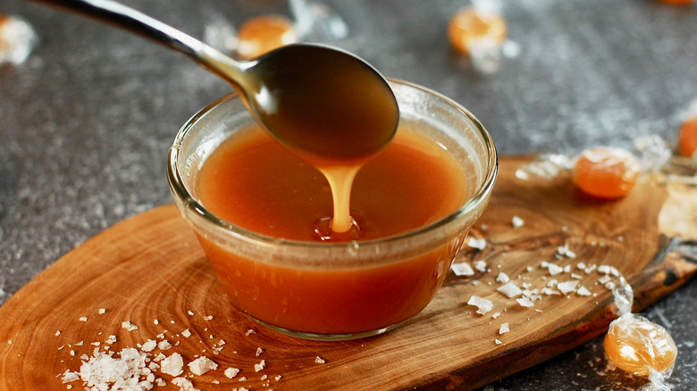 Salted caramel in a glass bowl
