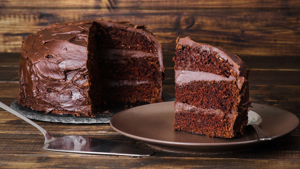 Devil's food cake and slice
