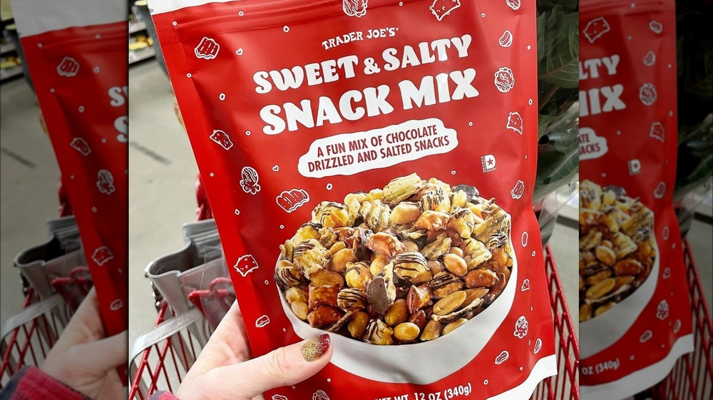 Bag of Sweet & Salty Snack Mix with picture of bowl of mix