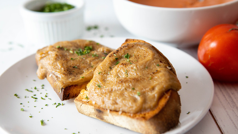 traditional Welsh Rarebit on plate