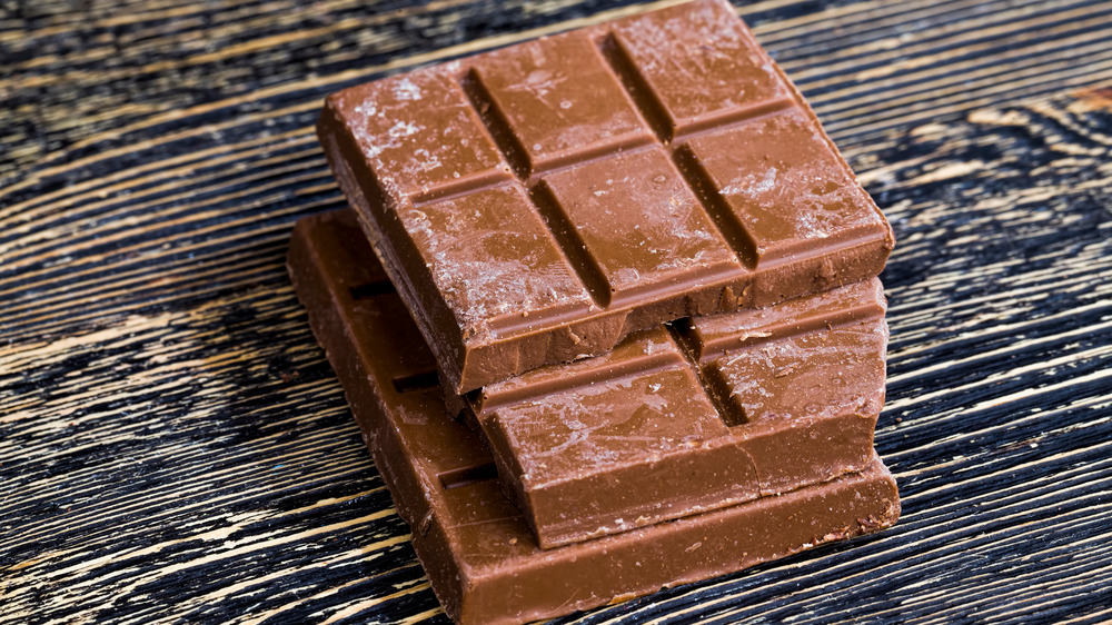 Squares of chocolate with gray bloom