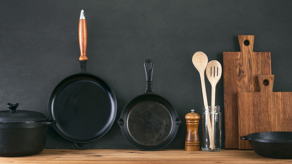 Cast iron skillets on countertop