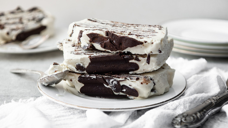slices of vanilla and chocolate viennetta cake on a white plate