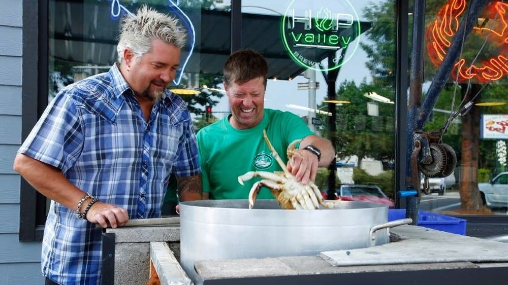 Guy Fieri and chef make crab on Diners, Drive-Ins and Dives