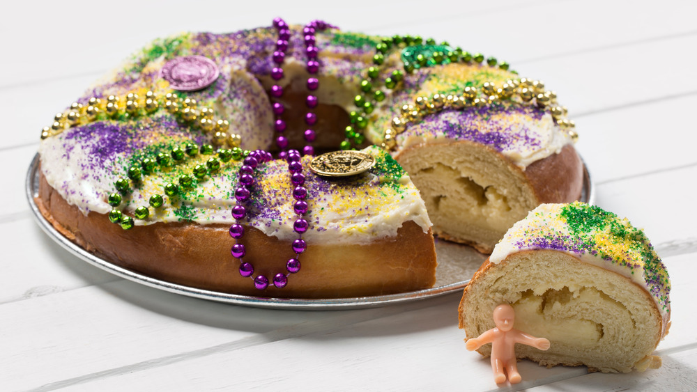 Traditional Louisiana king cake with cream cheese