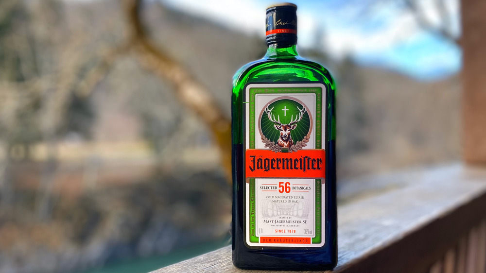 Close-up of bottle of Jagermeister