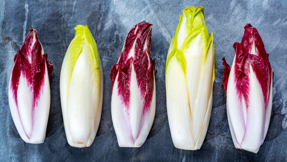 Red and green Belgian endives in a row