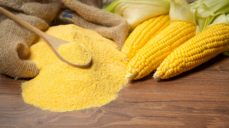 Yellow corn placed next to cornmeal