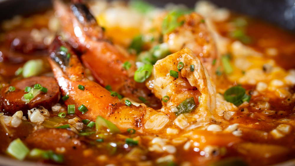 Close up of shrimp and grits