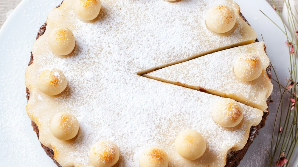 Simnel cake on white plate