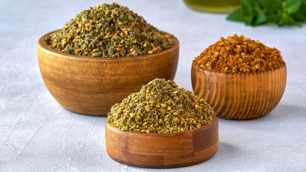 Za'atar spice blend pictured in a bowl