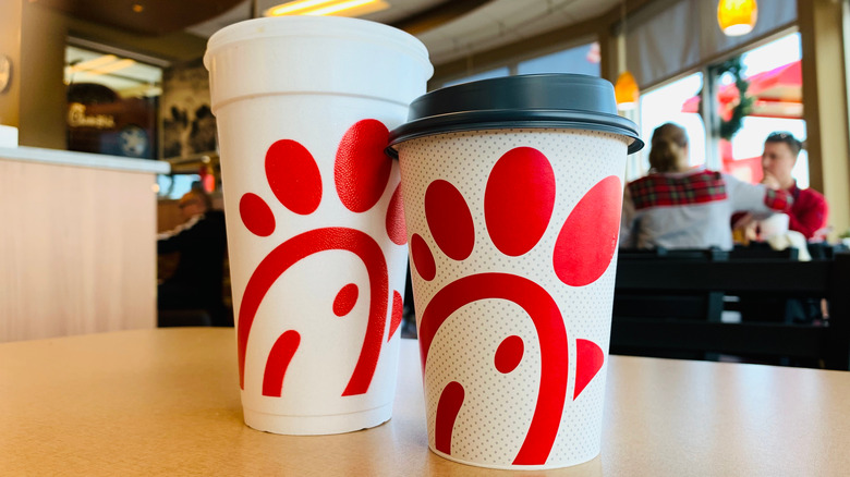 Chick-fil-A cups in restaurant