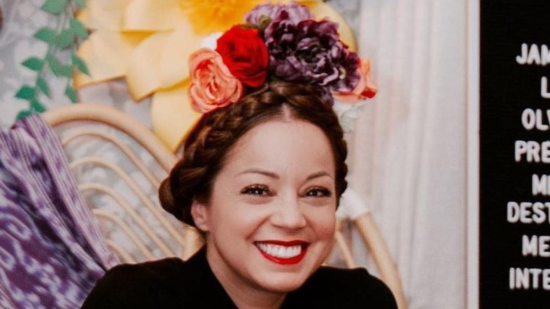 Marcela Valladolid smiling with flower crown