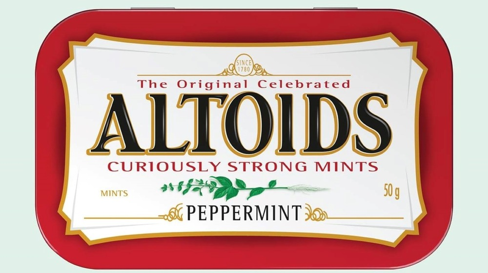 Red and white Altoids mints tin