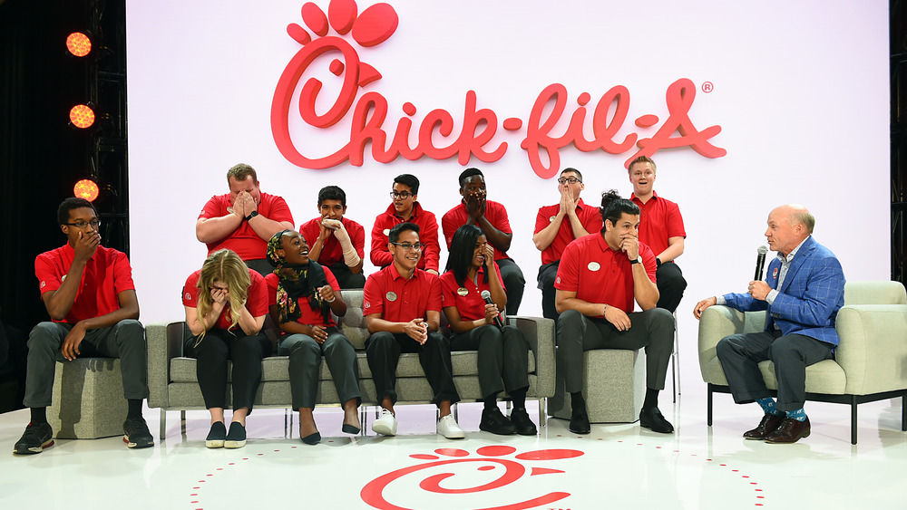 Chick-fil-a employees on couch