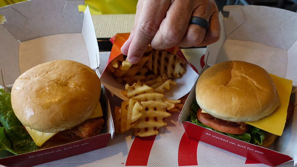Two Chick-fil-a sandwiches