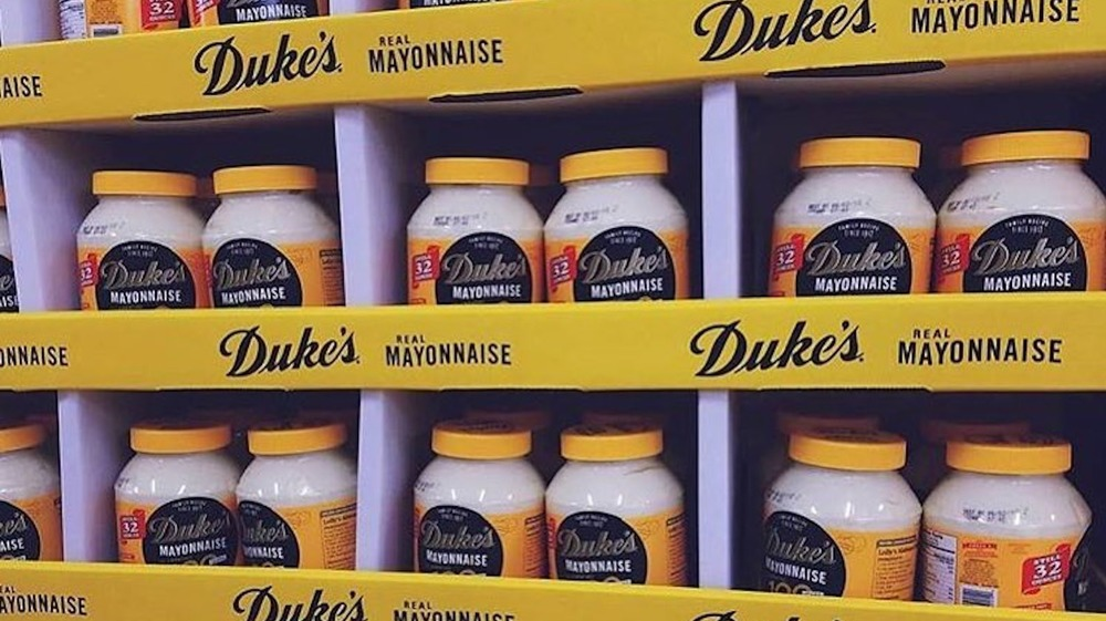 Jars of Duke's Mayonnaise at a grocery store