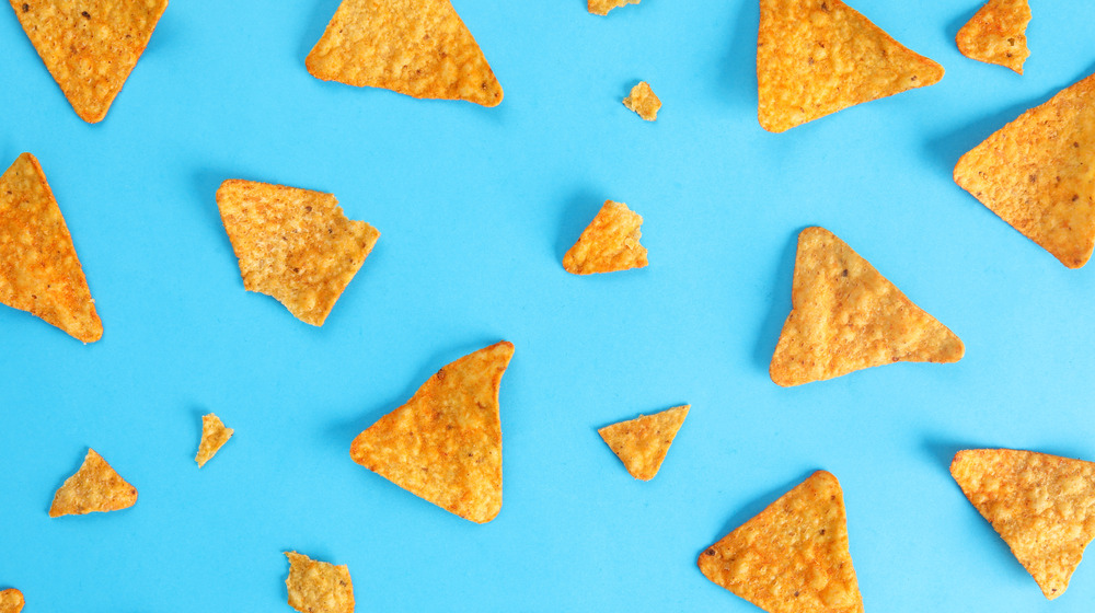 Seasoned tortilla chips on a blue background