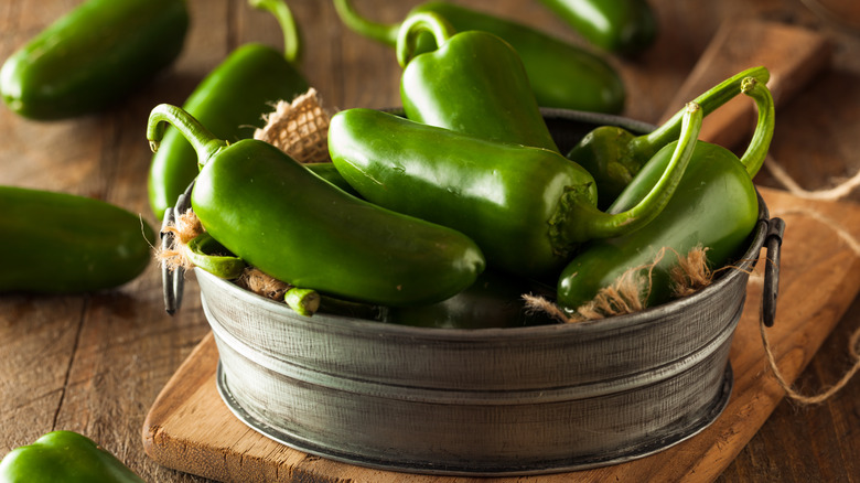 Jalapeno peppers in a tin