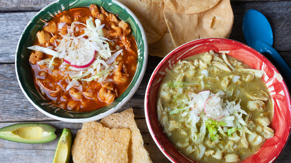 Red and green pozole