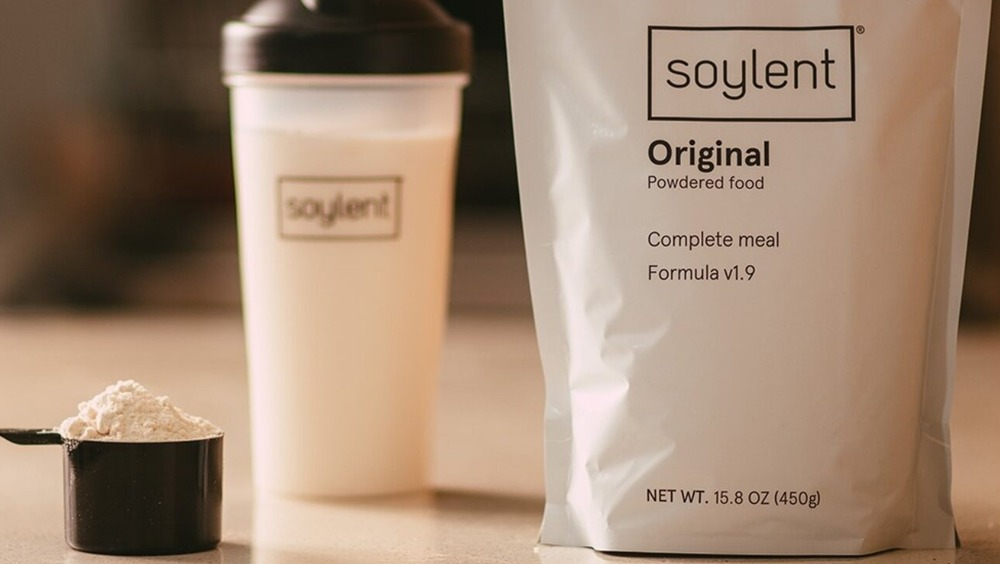 Soylent pack, cup, and scoop