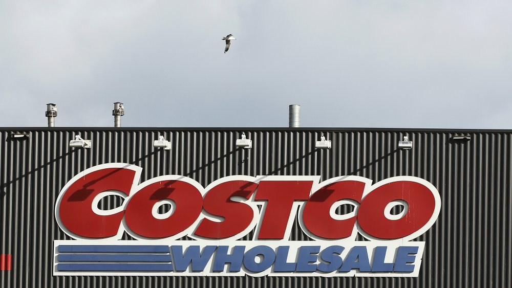 A seagull flies over a Costco Wholesale sign