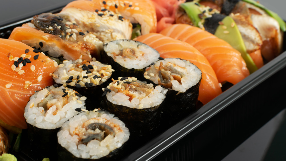 Sushi in a plastic container