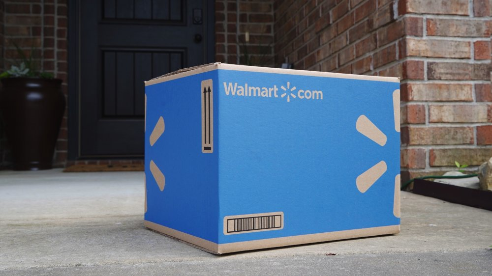 Amazon delivery van with Walmart in the back