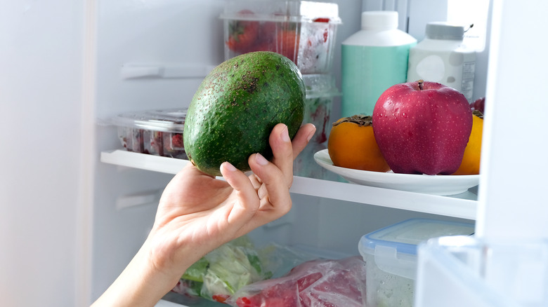 Hand holding an avocado in front of a refrigerator