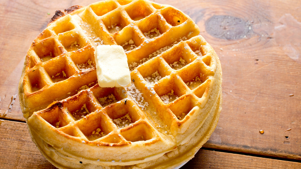 Waffle with butter on top