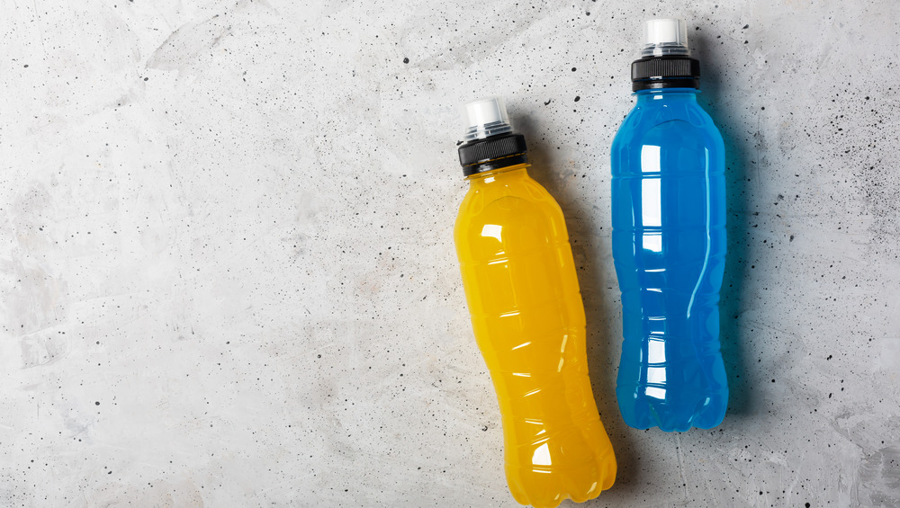 Sports drinks in squeeze bottles