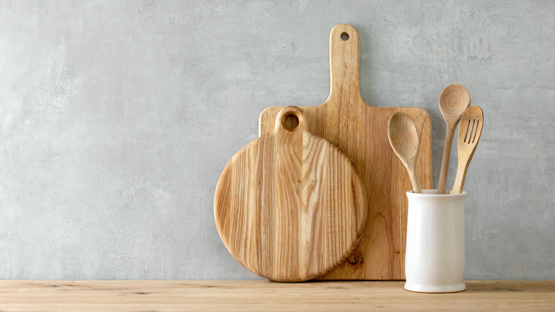Wooden cutting boards on kitchen counter
