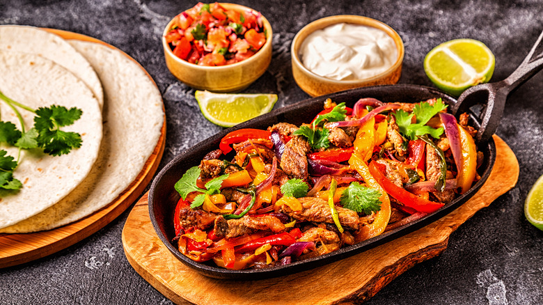 Fajitas with peppers and meat